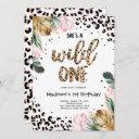 wild one birthday leopard print wild jungle party invitation