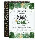 wild one birthday safari black gold crown boy 1st invitation