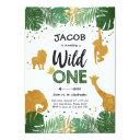 wild one birthday safari black gold jungle boy 1st invitations