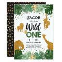 wild one birthday safari black gold jungle boy 1st invitations