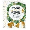 wild one birthday safari jungle animals leaves invitation