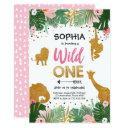 wild one birthday safari pink gold jungle girl 1st invitations