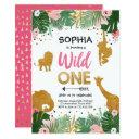 wild one birthday safari pink gold jungle girl 1st invitations
