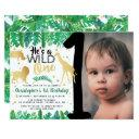 wild one boys photo first birthday invitations