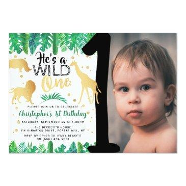 Small Wild One Boys Photo First Birthday Invitations Front View