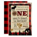 wild one buffalo check flannel moose 1st birthday invitation