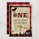 wild one buffalo check flannel moose 1st birthday invitation