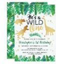 wild one dinosaur boys 1st birthday invitation