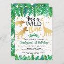 wild one dinosaur boys 1st birthday invitation