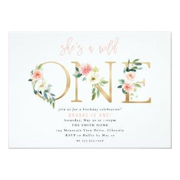 Small Wild One Floral First Birthday Invitation Front View