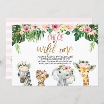 wild one floral foliage safari animals birthday invitation