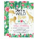wild one girls first birthday party invitations
