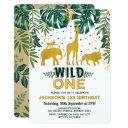 wild one jungle safari animals birthday party invitation