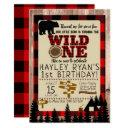 wild one little bear red plaid 1st birthday invitation
