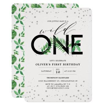 wild one modern tropical greenery 1st birthday invitation