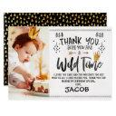 wild one photo 1st birthday thank you invitations