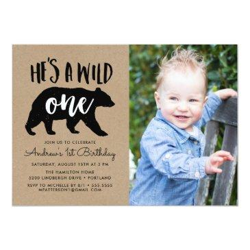Small Wild One | Photo First Birthday Invitation Front View