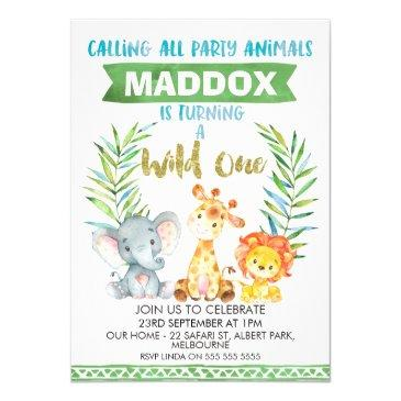 wild one safari 1st birthday party invitations