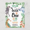 wild one safari animal kids 1st birthday invitation postinvitations