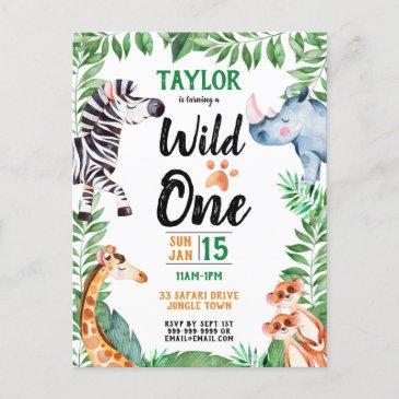wild one safari animal kids 1st birthday invitation postinvitations