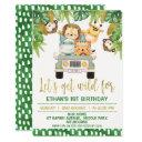 wild one safari animals 1st birthday invitation