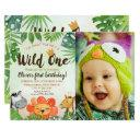 wild one, safari first birthday, photo invitation