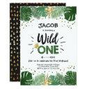 wild one safari gold boy animals birthday party invitation
