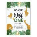 wild one safari gold boy animals birthday party invitations