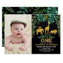 wild one tropical jungle safari 1st birthday party invitation