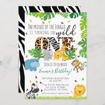wild one tropical safari animal 1st birthday invitation