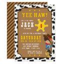 wild west tan cowboy birthday invitations