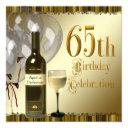 wine glass bottle black gold 65th birthday party invitations