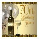 wine glass bottle gold 70th birthday party invitations