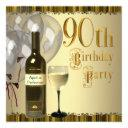 wine glass bottle gold 90th birthday party invitation