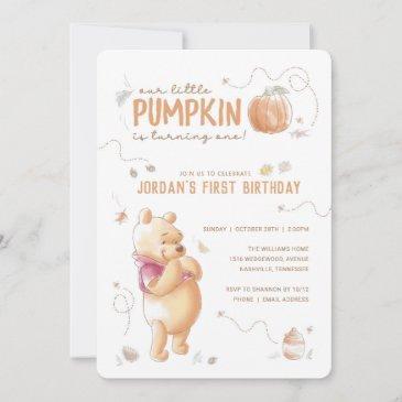 winnie the pooh fall harvest pumpkin 1st birthday invitation