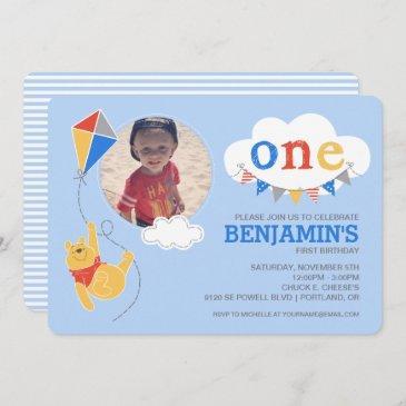 winnie the pooh kite | baby boy - first birthday invitation
