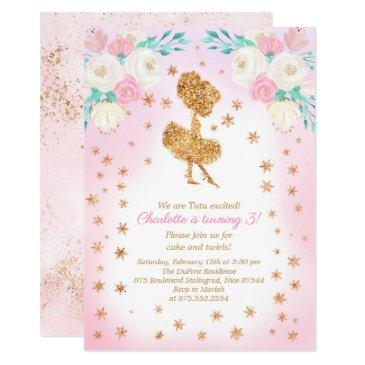 winter ballerina glitter birthday invitation