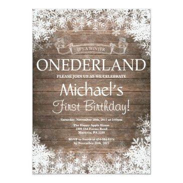 winter onederland 1st birthday invitations