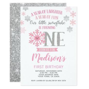 winter onederland 1st birthday invitation photo