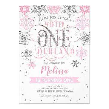 winter onederland 1st birthday, pink silver invitation