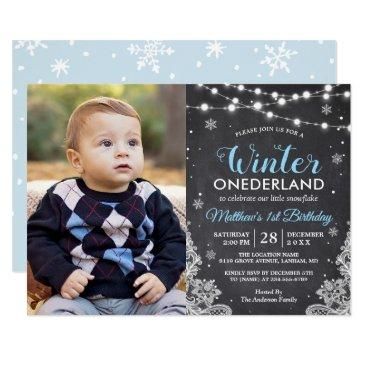 winter onederland baby boy first birthday photo invitation