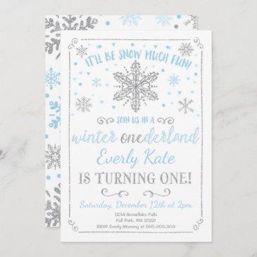 winter onederland birthday invitation blue silver