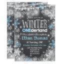 winter onederland birthday invitation blue white
