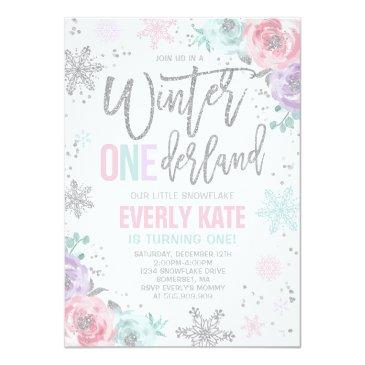 Small Winter Onederland Birthday Invitation Pink Silver Front View