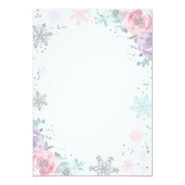 Small Winter Onederland Birthday Invitation Pink Silver Back View