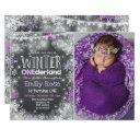 winter onederland birthday invitation purple white