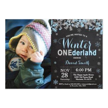 winter onederland blue silver boy 1st birthday invitations