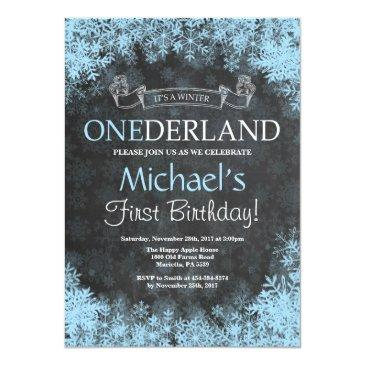 winter onederland boy 1st birthday invitation