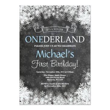 winter onederland boy 1st birthday invitation