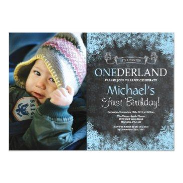 winter onederland boy 1st birthday photo invitation